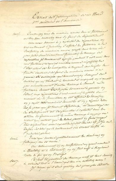 Angleterre. Manuscrit, Enquête sur la marine...