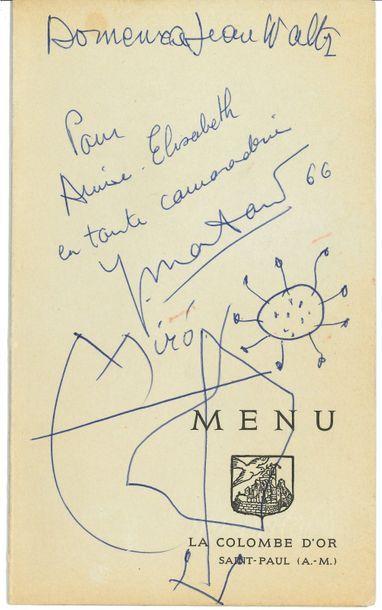 Joan MIRÒ (1893-1983). Dessin et signature autographe, 1966; 1 page in-8 sur un...