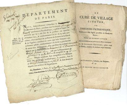 Clergé. 2 P.S. et 6 imprimés, 1789-1794....