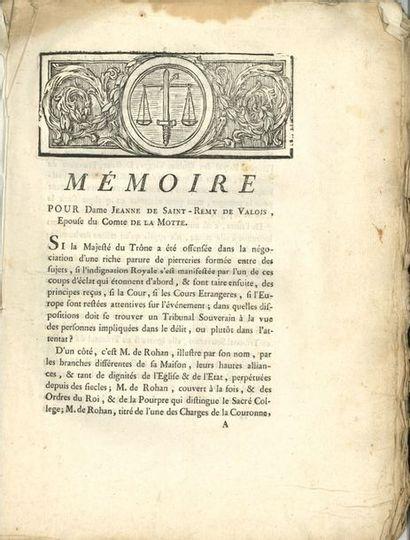 Affaire du collier. 4 imprimés, Paris 1785-1786;...