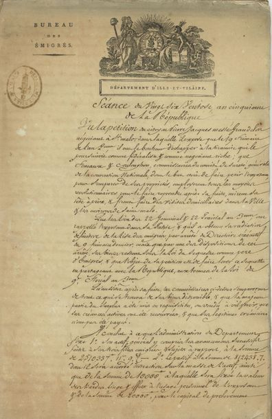 Emigrés. 9 pièces ou lettres, 1793-1804;...