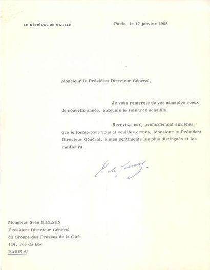 Charles de GAULLE. L.S., Paris 17 janvier...