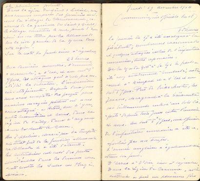Guerre de 1914-1918. 4 cahiers manuscrits,...