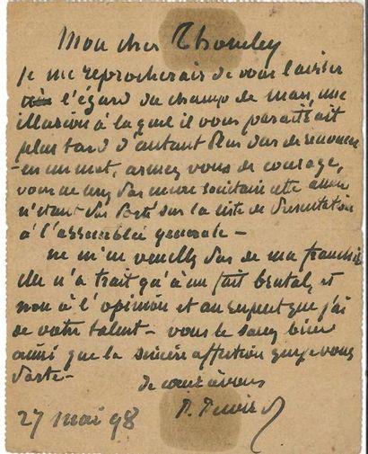 Pierre PUVIS DE CHAVANNES (1824-1898). L.A.S., 27 mai 1898, à William Thornley à...