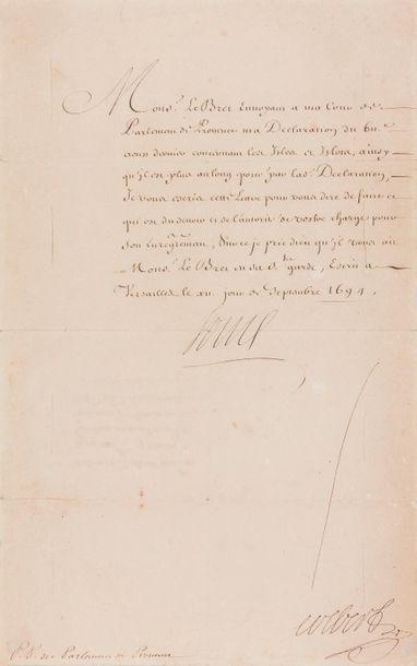 LOUIS XIV (1638-1715). L.S. (secrétaire),...