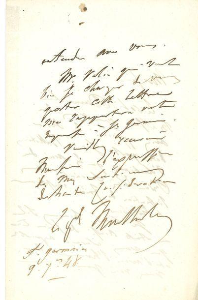 Charles Tristan, comte de MONTHOLON. L.A.S.,...