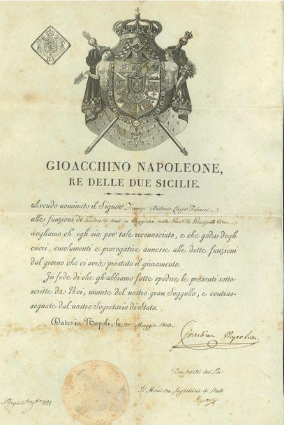 Joachim Murat. P.S., Naples 20 mai 1809;...