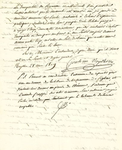 Joachim Murat. L.S., Naples 28 mai 1809,...