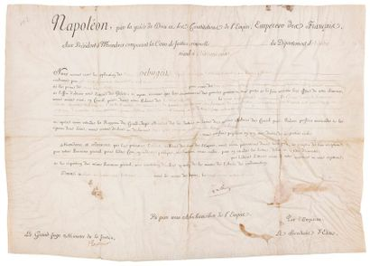 NAPOLÉON Ier (1769-1821) Empereur. P.S. «Napoleon»,...