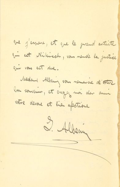 Isaac ALBENIZ (1860-1909). L.A.S., [Paris],...
