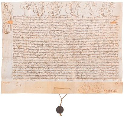 Michelangelo Conti, Innocent XIII (1655-1724) Pape en 1721. Bulle manuscrite en...