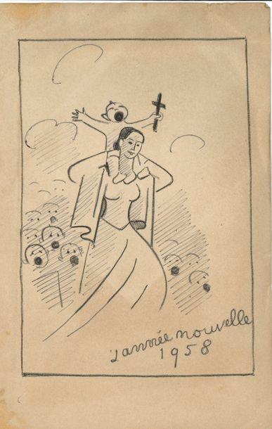 Beaux-arts. 8 cartes de vœux illustrées ou...