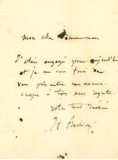 Hector BERLIOZ. L.A.S., à Pierre-Joseph-Guillaume...