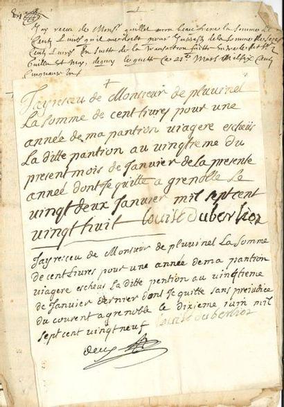 Famille Berlioz. 4 P.S. par des membres de cette famille du Dauphiné, probablement...