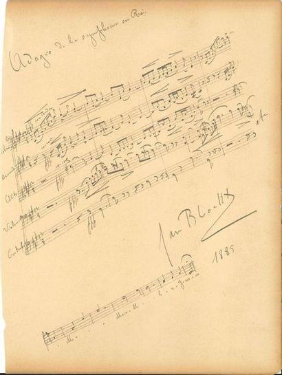 Jan Blockx (1859-1912). P.A.S. musicale, 1885; 1page in-fol. cartonnée détachée...