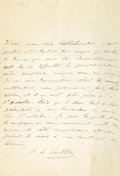 Alexis de Castillon (1838-1873). L.A.S.,...