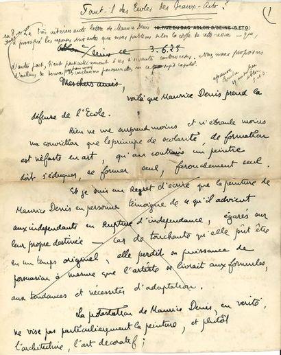 Georges Bouche (1874-1941) peintre. 5 manuscrits autographes (4 signés, 3 du pseudonyme...