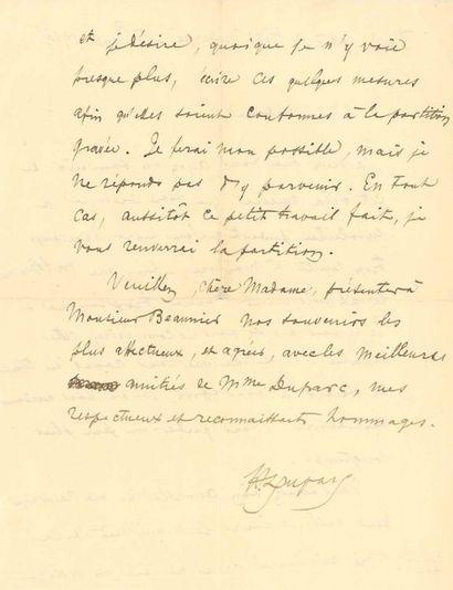 Henri DUPARC (1848-1933). L.A.S., Tarbes...
