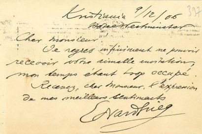 Edvard GRIEG (1843-1907). L.A.S., Kristiania...