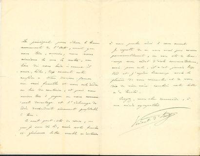 Vincent d'INDY (1851-1931). L.A.S., 10 juin...