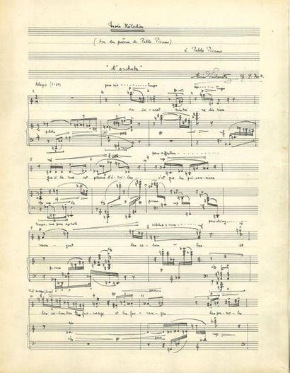 René Leibowitz (1913-1972). Manuscrit musical...