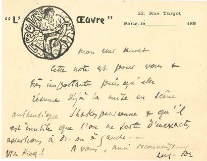 Aurélien LUGNÉ-POE (1869-1940). 27 L.A.S.,...
