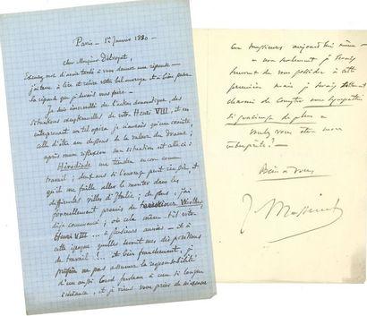 Jules MASSENET (1842-1912). 28 L.A.S., 1879-1892,...