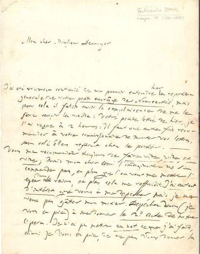 Ferdinando PAËR (1771-1839). L.A.S., Paris...