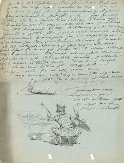 Georges CLAIRIN (1843-1920). L.A.S. avec dessins à la plume, Paris [1891?, à son...