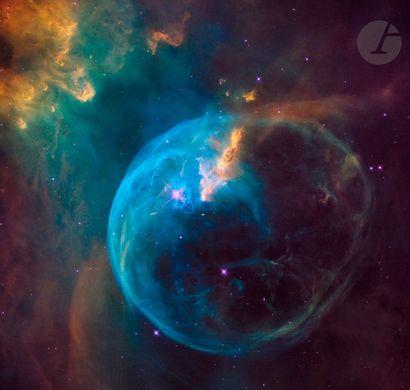 NASA Télescope Hubble, 24 avril 1990. Nébuleuse de la Bulle. Épreuve chromogénique...