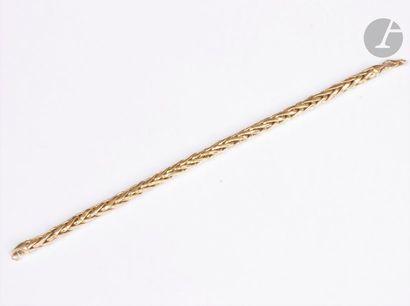 Bracelet en or 18K (750), maillons palmier....