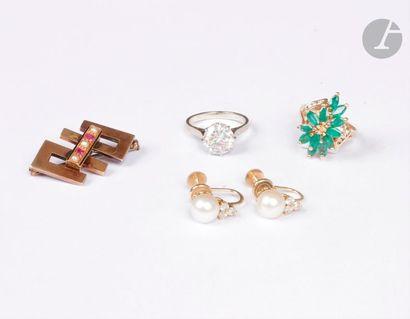 Lot de bijoux en or 14K (585) et 18K (750)...
