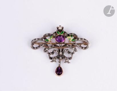Broche en argent dessinant des rubans noués sertis de diamants taillés en roses,...