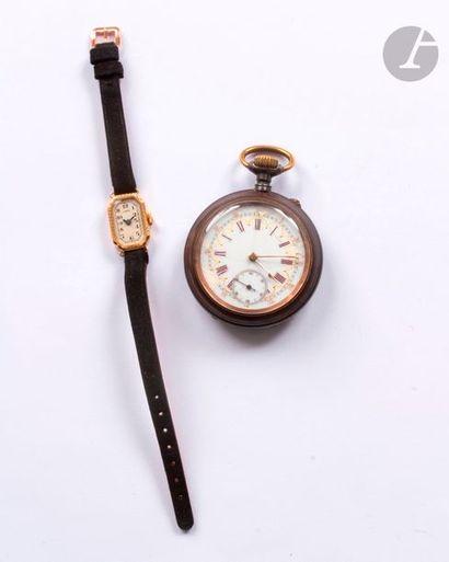 Lot composé d'une montre de femme en or jaune...