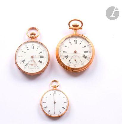 Lot de 3 montres de poche en or 18K (750)....