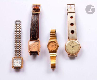 Lot de 4 montres : 2 en or : 1 TELLUS 14K...