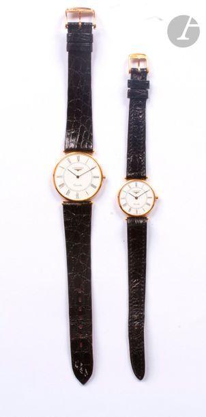 LONGINES. 2 montres bracelet, modèle homme...