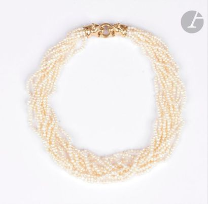 Collier multi-rangs de perles de culture,...