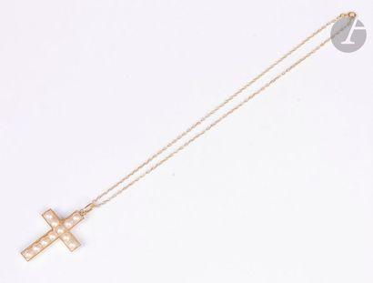 Croix pendentif en or jaune 18K (750), sertie...