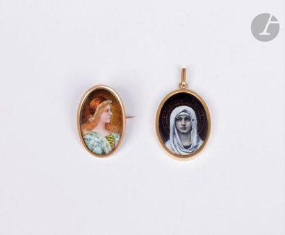 Lot de deux bijoux en or 18K (750) émaillés...