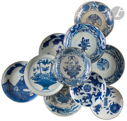 Chine Dix coupes en porcelaine à décor en...