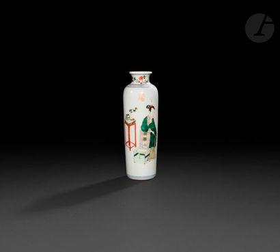 Chine Vase cylindrique en porcelaine à décor...