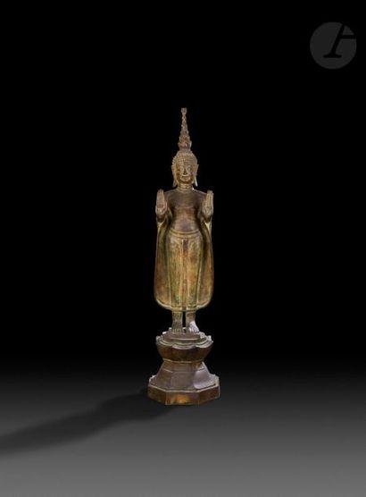 Laos - XIXe siècle Statue en bronze de bouddha...