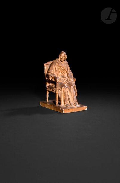 Jean Antoine HOUDON (1741-1828) Voltaire assis Maquette en plâtre patiné H : 22,3...