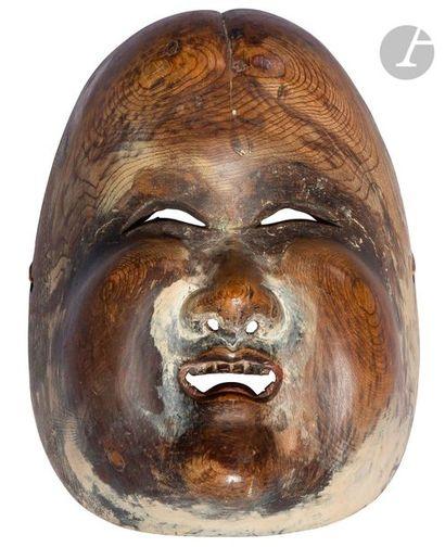 JAPON - XIXe siècle Masque d'Okame en bois...