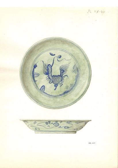 CHINE - Fin Époque MING (1368 - 1644) Ensemble comprenant trois assiettes en porcelaine...