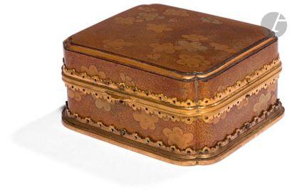JAPON - XIXe siècle Boîte rectangulaire à...