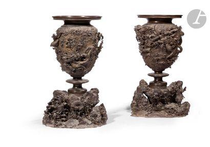 JAPON - XIXe siècle Paire de grands vases en bronze reposant sur un socle en forme...