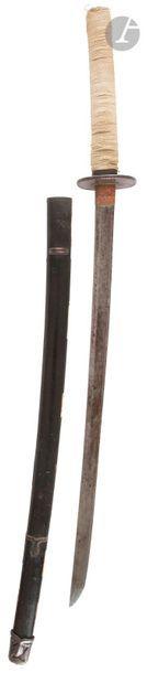 JAPON - Époque MEIJI (1868 - 1912) Shinshinto wakizashi, shinogi zukuri, sans trempe,...