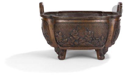 CHINE - Fin XIXe siècle Vasque quadripode...